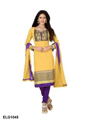 Riti Riwaz Georgette  Fabric  With Un-Stitch Dupatta  Yellow Color ELG1045