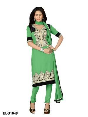 Riti Riwaz Georgette  Fabric  With Un-Stitch Dupatta  Green Color ELG1048