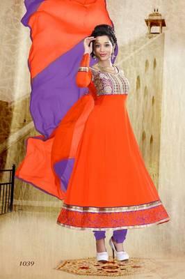 Riti Riwaz Georgette  Fabric  With Un-Stitch Dupatta  Orange Color SG1039