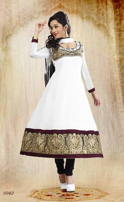 Riti Riwaz Georgette  Fabric  With Un-Stitch Dupatta  White Color SG1042