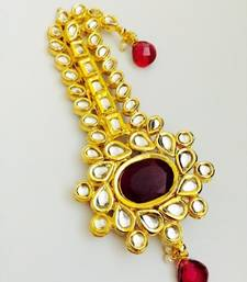 Buy maroon golden kundan work kalangi hair-accessory online