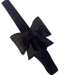 Buy Black sparkly/glitter sequin bowknot elastic Newborn Soft Headband hair-accessory online