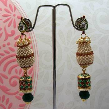 Meenakari Jaal Puwai Earrings with Cylinders (Pearl Brown)