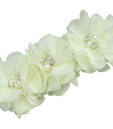 Buy Gorgeous Off White Infant Headband with Three Flowers and Embellishments hair-accessory online