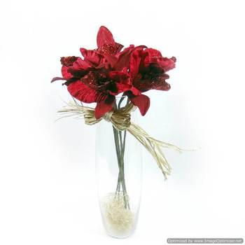 Glitter Velvet Orchids - Red