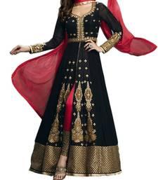 Buy black georgette embroidered semi stitiched salwar with dupatta party-wear-salwar-kameez online