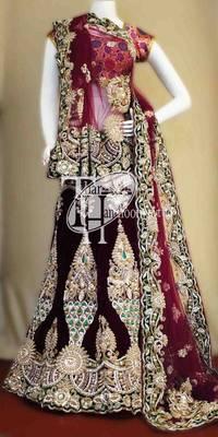 Mind blowing wine velvet beautiful heavy work bridal lehenga