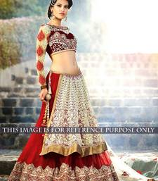 Buy Red plain georgette  and  net worked bridal lahenga with blouse navratri-lehenga-chaniya-choli online