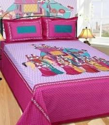 Buy multicolor cotton printed cartoon bedsheet with pillow covers bed-sheet online