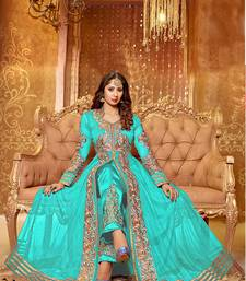 Buy sky-blue embroidered net semi-stitched salwar with dupatta semi-stitched-salwar-suit online