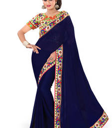 Buy blue plain georgette saree With Blouse below-1500 online
