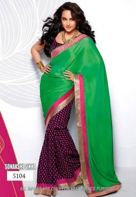 Sonakshi Sinha Green Pallu Saree