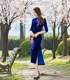 Buy Blue velvet embroidered stitched kurti party-wear-kurti online