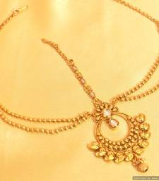 Buy Gold Look Paisley Kundan Maang Tikka south-indian-jewellery online