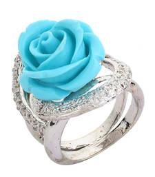 Buy Turquoise Blue Colour 925 Silver Floral Rose Ring For Women Ring online