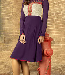 Buy Violet embroidered georgette stitched kurtis party-wear-kurti online