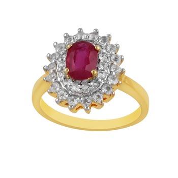 Precious Ruby & White Topaz studded Sterling Silver Ring