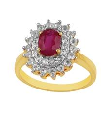 Buy Precious Ruby & White Topaz studded Sterling Silver Ring gemstone-ring online