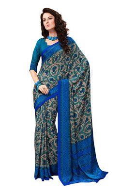 Fabdeal Grey Colored Crepe Printed Saree