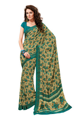 Fabdeal Light Yellow Colored Crepe Printed Saree