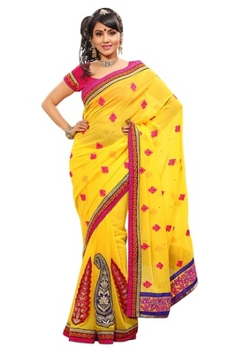 Triveni Indian Ethnic Glorious Traditional Embroidered Chiffon Sari