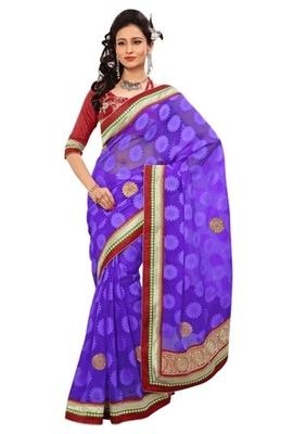 Triveni Indian Ethnic Fabulous Border Worked Chiffon Jacquard Sari