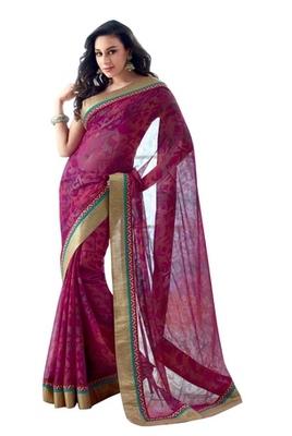 Triveni Latest Indian Designer Glorious Golden Bordered Printed Brasso Saree