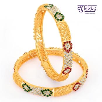 Sukkhi Gold Plated Color Stone bangels