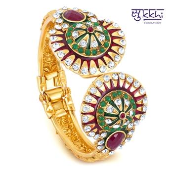 Sukkhi Gold Plated multicolor stone flexible kada