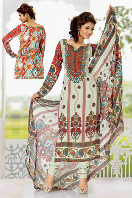 Beige Colour Georgette Printed Salwar Kameez