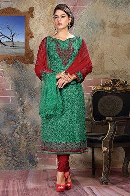 Turquoise Colour Cambric Cotton Salwar Kameez