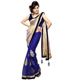 Buy blue plain faux chiffon saree With Blouse chiffon-saree online
