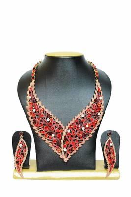 Striking Zircon Jewelry Set in Red Shades