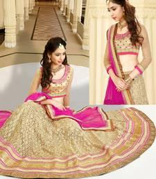 Buy beige net embroidered unstitched lehenga choli bridal-lehenga online