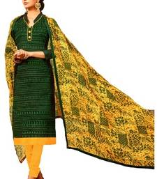Buy green chanderi silk unstitched salwar with dupatta salwars-and-churidar online