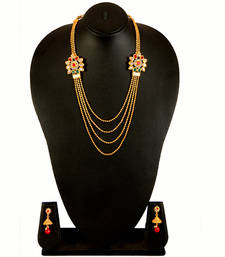Buy Gold Red Green White Alloy Necklace Earring Set for Women south-indian-jewellery online