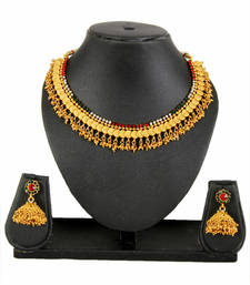 Buy Gold Red Green White Copper Necklace Earring Set for Women south-indian-jewellery online