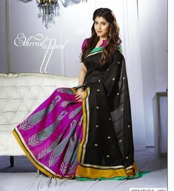 Beautiful, Printed Bhagalpuri Khadi Silk Saree