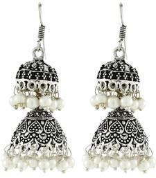 Buy Double Jhumka Antique Oxidized German Silver Pearl Jhumki Earring For Women jhumka online
