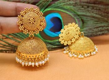 Beautiful Gold Plated Designer Jhumkas