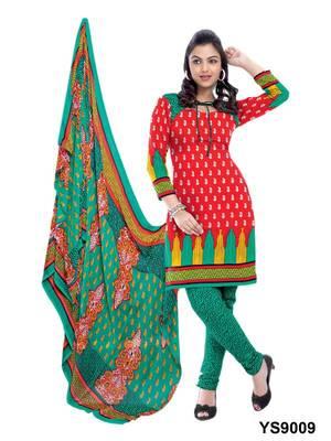 Riti Riwaz Cotton Red Designer Printed Salwar Suit - YS9009