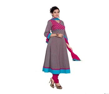 NeelFab Sky Blue-Magenta Cotton Anarkali Suit