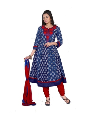 NeelFab Blue-Red Cotton Anarkali Suit