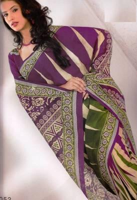 Saree Cambric Cotton Designer Prints With Blouse Piece D.No D1052