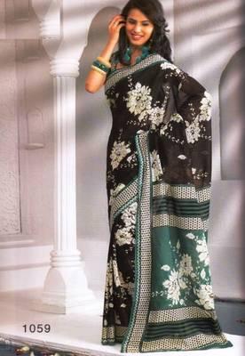 Saree Cambric Cotton Designer Prints With Blouse Piece D.No D1059