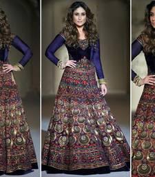 Buy Multicolor embroidered velvet unstitched bridal-lehengas black-friday-deal-sale online