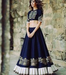 Buy Blue embroidered art silk unstitched ghagra choli mehendi-ceremony-dress online