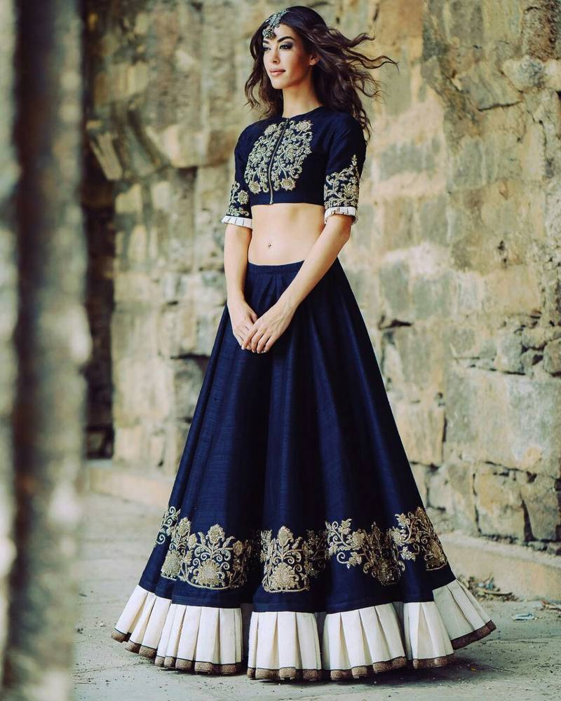 Buy Blue Embroidered Art Silk Unstitched Ghagra Choli Online