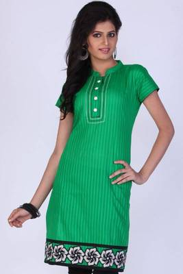 Jade Green Cotton Embroidered Party and Festival Kurti