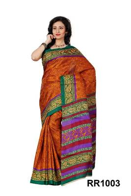 Riti Riwaz orange art silk saree with unstitched blouse RR1003